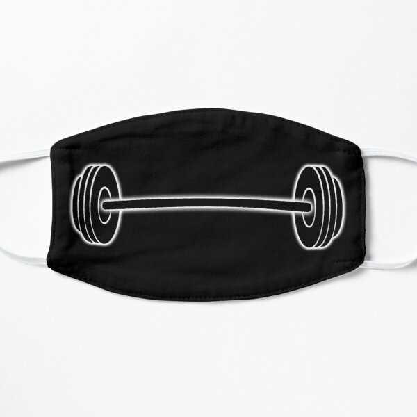 BARBELL. Weight Lifting. Bending Bar. on Black. Mask