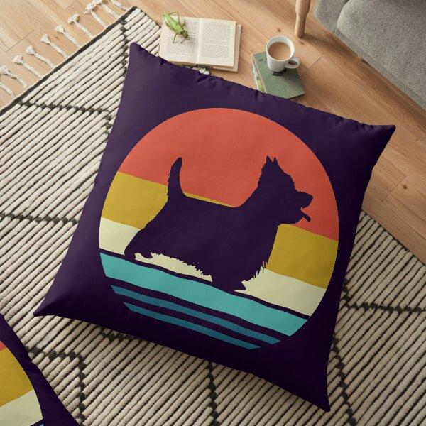 Silky Terrier - Vintage Retro Silky Terrier Dog Breed - Silky Terrier Dog Owner Gift Floor Pillow