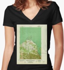 USGS Topo Map Washington State WA Dungeness 240900 1939 62500 Women's Fitted V-Neck T-Shirt