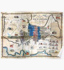 Portland, Maine 1836 Map by John Cullum Poster