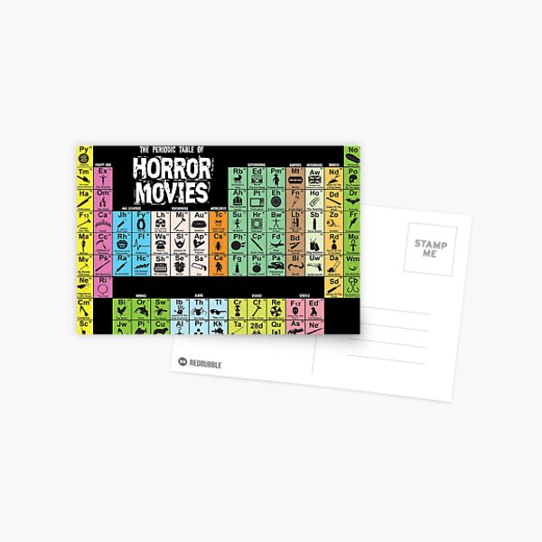 Periodic Table of Horror Movies Postcard