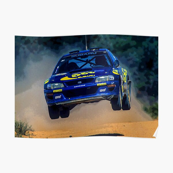 Resumen de Colin McRae saltando en su Impreza STI World Rally Car Póster
