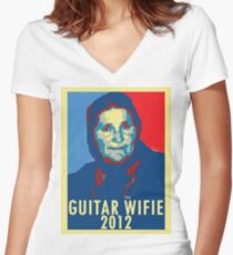 Guitar Wifie for President 2012 Women's Fitted V-Neck T-Shirt