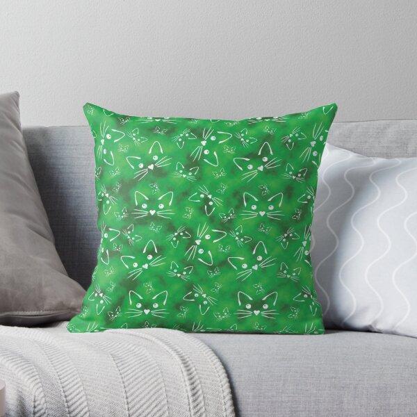 Kitties in Green Throw Pillow