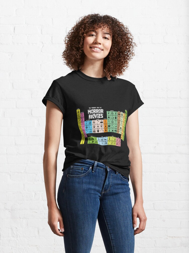 Alternate view of Periodic Table of Horror Movies Classic T-Shirt