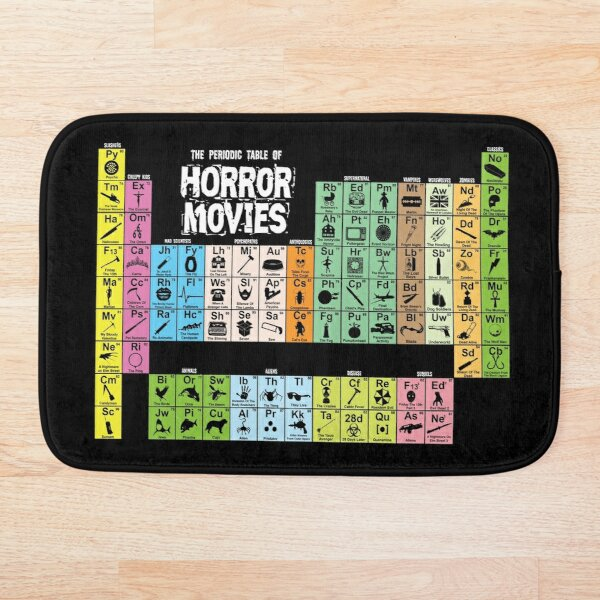 Periodic Table of Horror Movies Bath Mat