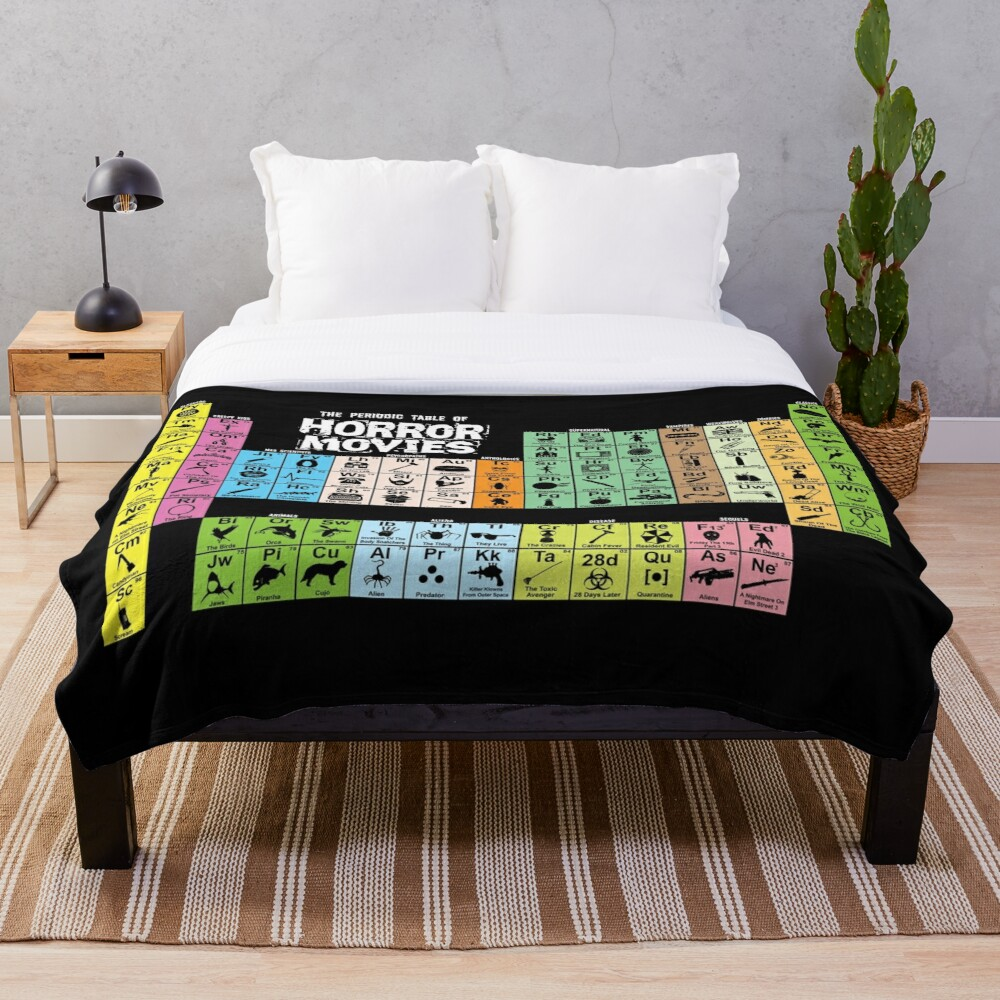 Periodic Table of Horror Movies Throw Blanket