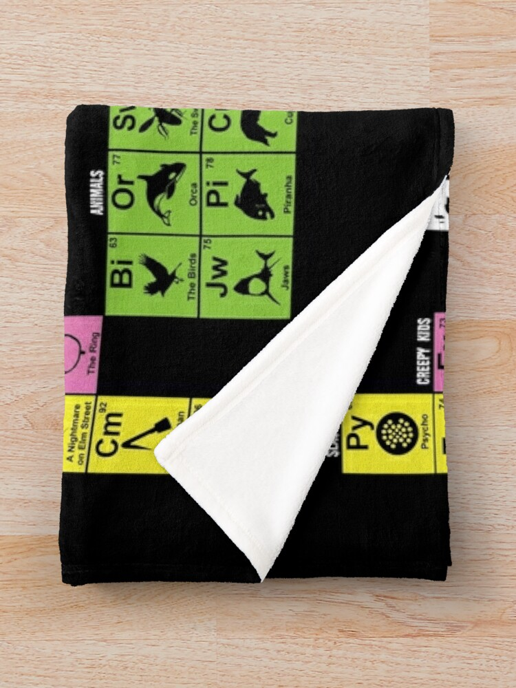 Alternate view of Periodic Table of Horror Movies Throw Blanket