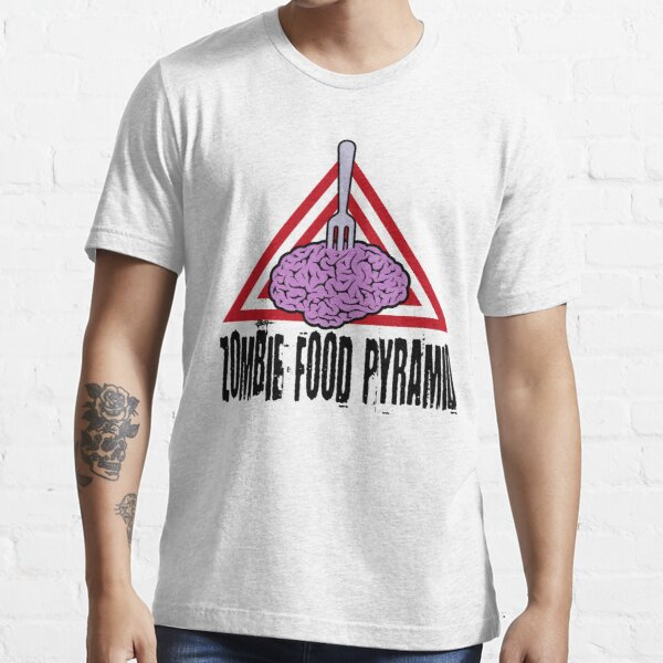 Zombie Food Pyramid Brains Diet Eat Groups Undead Feed On Living Men/'s T-Shirt