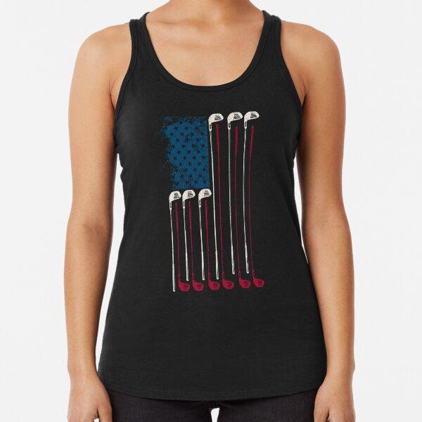 Patriotic American Flag Golf Fan Gift graphic print Racerback Tank Top