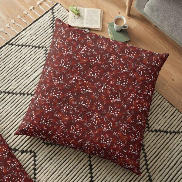 Kitties in Red Floor Pillow