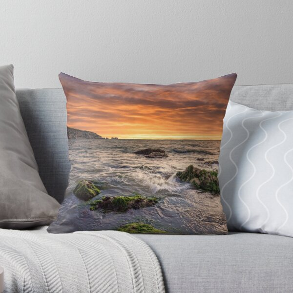 Alum Bay and The Needles Sunset Throw Pillow
