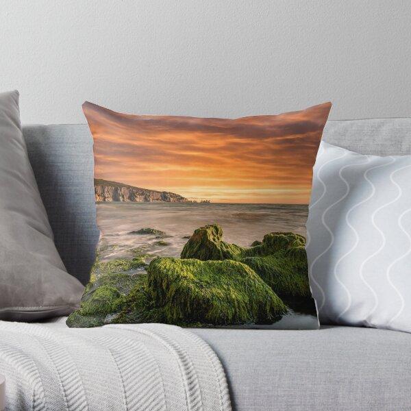 Alum Bay Rocks and The Needles Sunset Throw Pillow