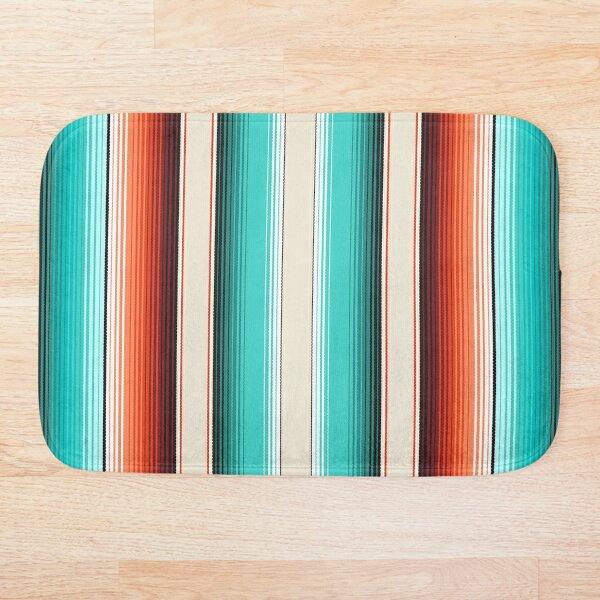 Navajo White, Turquoise and Burnt Orange Southwest Serape Blanket Stripes Bath Mat