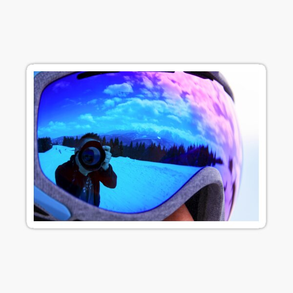 Photographer taking photo with dslr camera reflected in violet googgles Sticker
