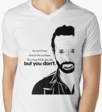 Rick's Famous Words (Black) Men's V-Neck T-Shirt