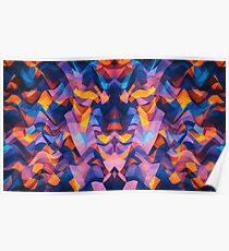 Abstract Surreal Chaos theory in Modern Blue / Orange Poster