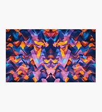 Abstract Surreal Chaos theory in Modern Blue / Orange Photographic Print