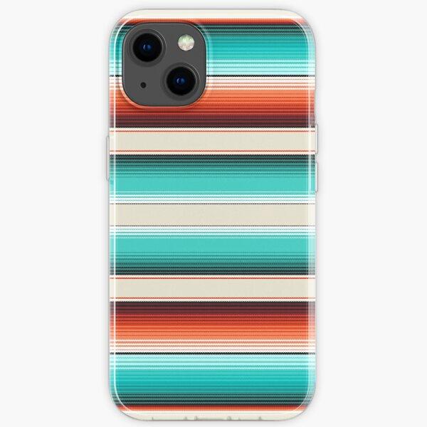 Navajo White, Turquoise and Burnt Orange Southwest Serape Blanket Stripes iPhone Soft Case