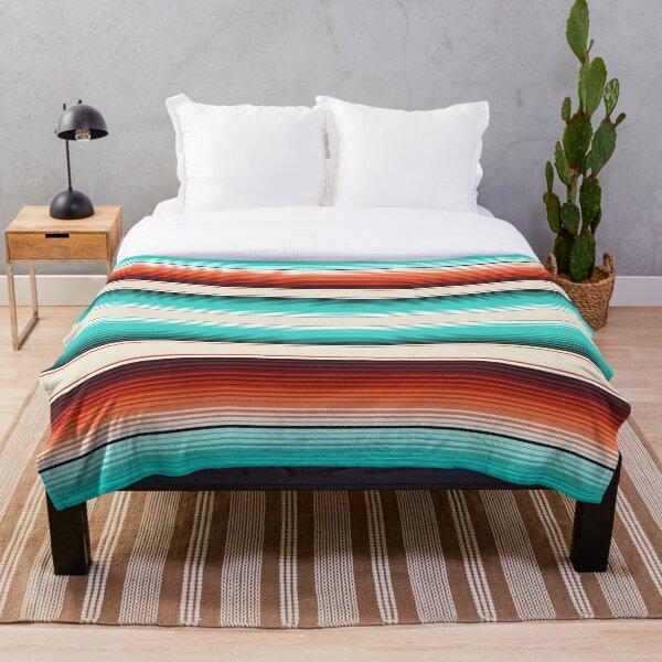 Navajo White, Turquoise and Burnt Orange Southwest Serape Blanket Stripes Throw Blanket