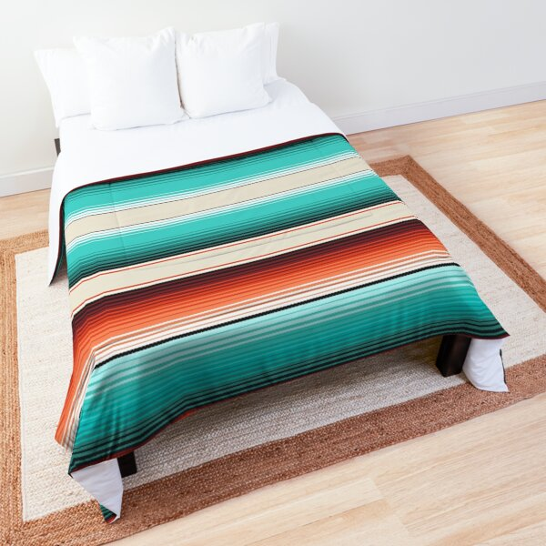 Navajo White, Turquoise and Burnt Orange Southwest Serape Blanket Stripes Comforter