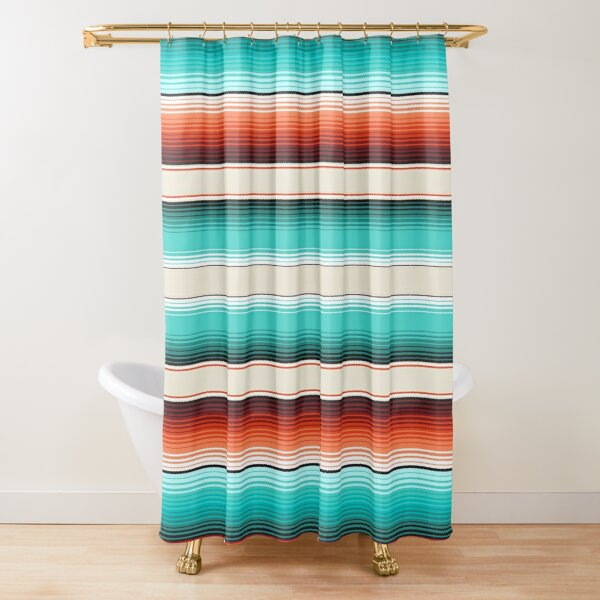 Navajo White, Turquoise and Burnt Orange Southwest Serape Blanket Stripes Shower Curtain