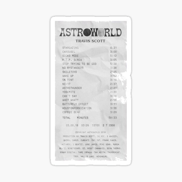 Astroworld Receipt Sticker