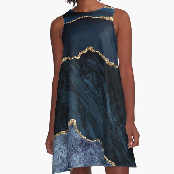 Abstract Blue, Gold Modern Geode Design A-Line Dress