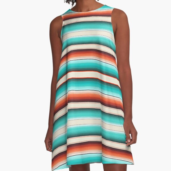 Navajo White, Turquoise and Burnt Orange Southwest Serape Blanket Stripes A-Line Dress