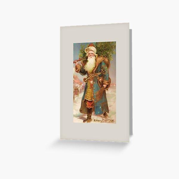 A Merry Christmas-Vintage Santa with Tree Christmas Card Greeting Card