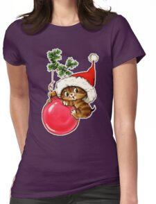 Cute Christmas Kitten  Womens Fitted T-Shirt