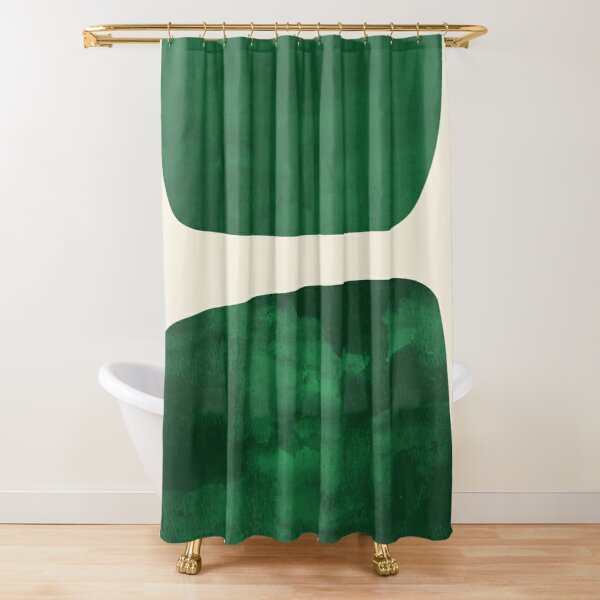 two shapes — green Shower Curtain