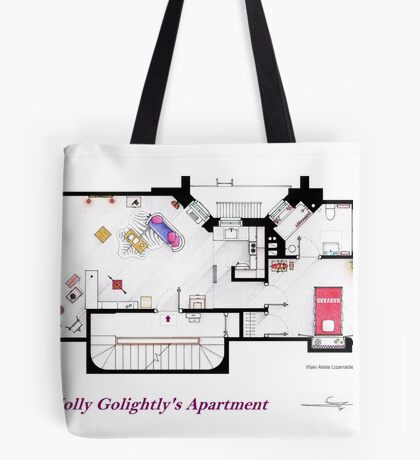 Breakfast at Tiffany's Apartment Floorplan Tote Bag