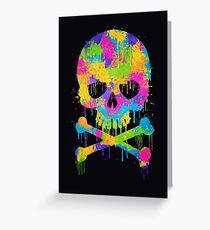 Abstract Trendy Graffiti Watercolor Skull  Greeting Card