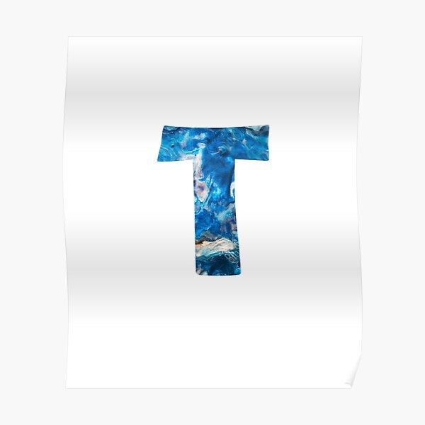 alphabet monogram letter T sticker Poster