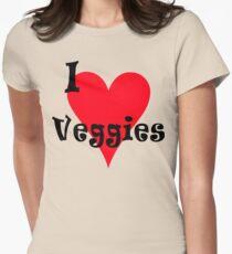 "Vegetarian ""I Love Veggies"" T-Shirt Women's Fitted T-Shirt"