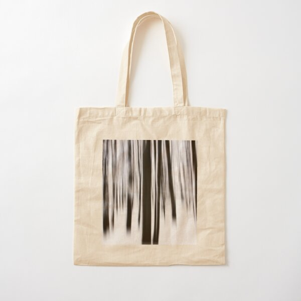 Monochrome vertical motion blur art in forest Cotton Tote Bag