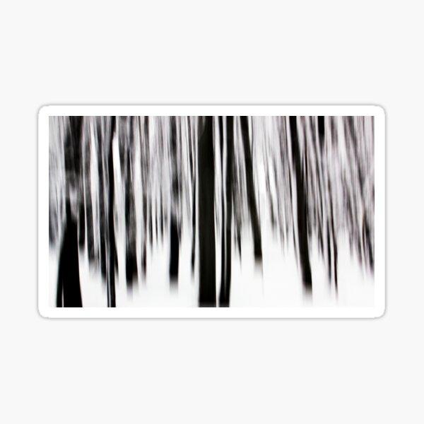 Monochrome vertical motion blur art in forest Sticker