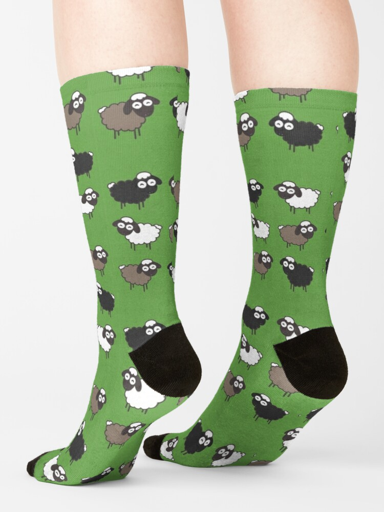 Alternate view of Flock of Sheep Baptism Gift Socks