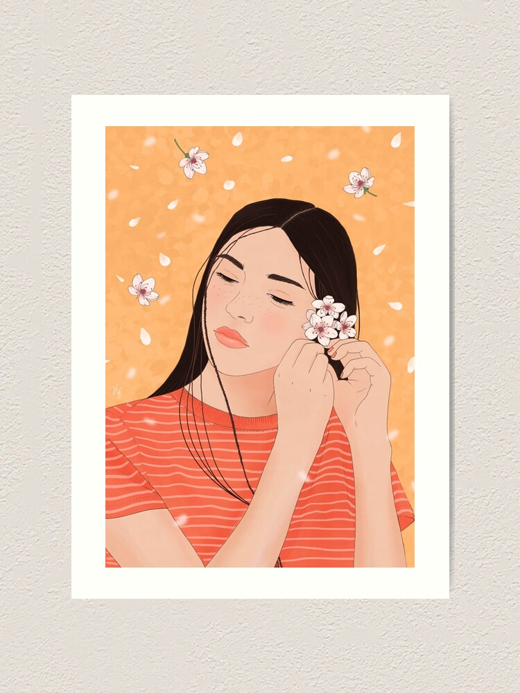 Alternate view of Girl with Cherry Blossoms Art Print