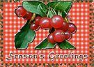 Season's Greetings Card - Honeysuckle Berries on Gingham by MotherNature