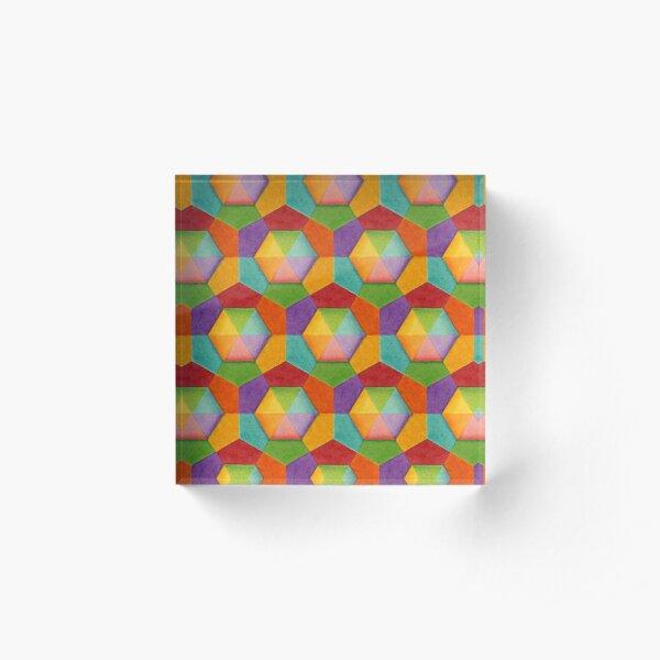 Rainbow Geometric (smaller scale) Acrylic Block