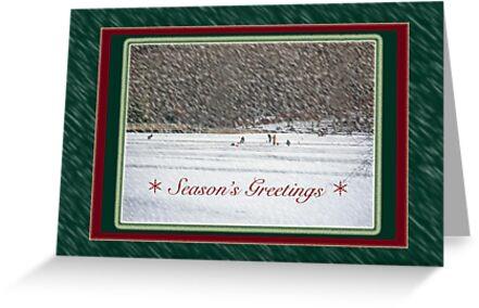 Season's Greetings Card - Ice Fishing by MotherNature