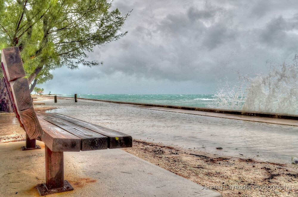 The Bench at Yamacraw facing the Hurricane Sandy on Eastern Road in Nassau, The Bahamas by Jeremy Lavender Photography