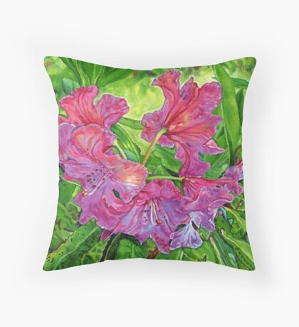 Pink Rhodo Throw Pillow