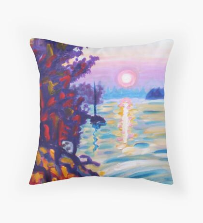 Gold Island Throw Pillow