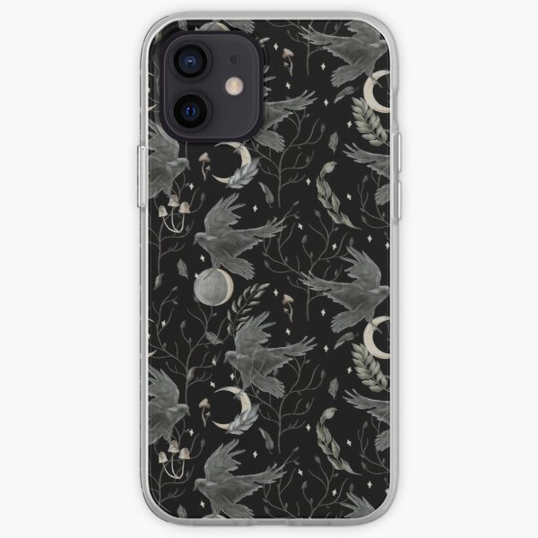 watercolor crow iPhone Soft Case
