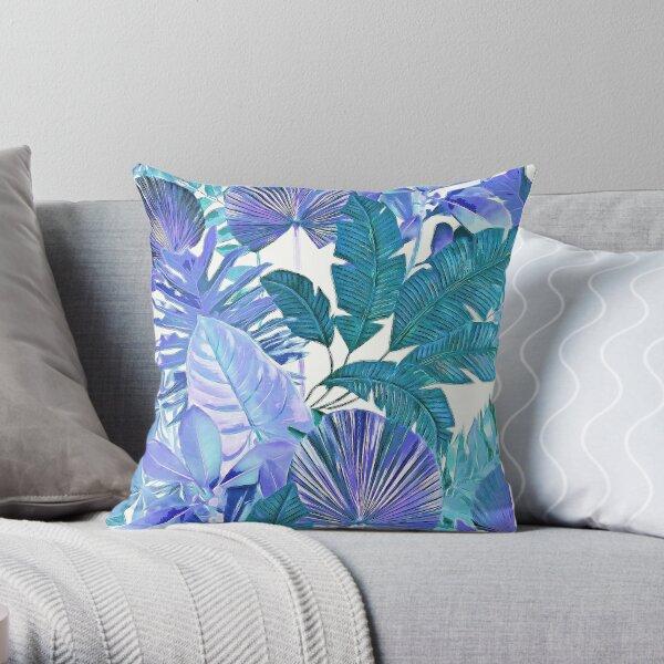 Tropical Leaf Cool Blue Aqua Throw Pillow