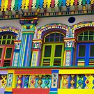 Colorful Building in Little India, Singapore by Jayme Rutherford