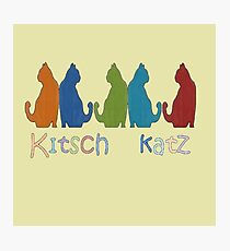 Kitsch Cats Silhouette Cat Collage Pattern Isolated Photographic Print
